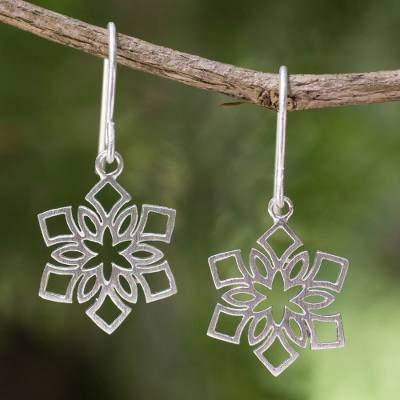 Sterling silver dangle earrings, 'Blossoming Snowflakes' - Artisan jewellery Women's Sterling Silver Earrings