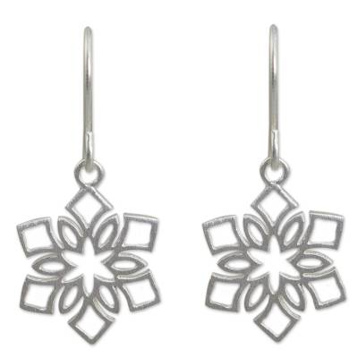 Sterling silver dangle earrings, 'Blossoming Snowflakes' - Artisan Jewelry Women's Sterling Silver Earrings