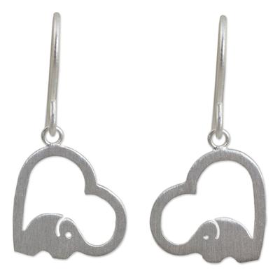 Sterling silver heart earrings, 'Heartfelt Elephants' - Sterling Silver Heart Elephant Earrings
