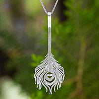 Sterling silver pendant necklace, 'Peacock Art'