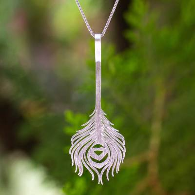 Sterling silver pendant necklace, 'Peacock Art' - Sterling Silver jewellery Artisan Crafted Necklace