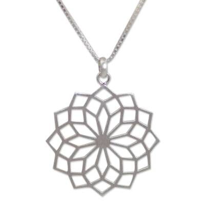 Sterling silver pendant necklace, 'Thai Sparkler' - Women's Sterling Silver Necklace from Thai Artisan Jewelry