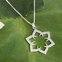 Sterling silver flower necklace, 'Lotus Mirage' - Sterling Silver Necklace Floral Jewelry from Thailand