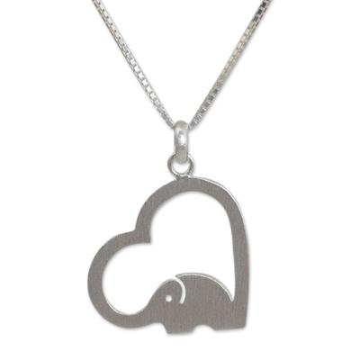 Sterling silver heart necklace, 'Heartfelt Elephant' - Thai Elephant Jewelry Necklace in Sterling Silver