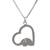 Sterling silver heart necklace, 'Heartfelt Elephant' - Thai Elephant jewellery Necklace in Sterling Silver (image 2a) thumbail