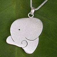 Sterling silver pendant necklace, 'Sleepy Elephant' - Sterling Silver Necklace Elephant Jewelry fromThailand