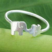 Sterling silver  ring, 'Elephant Rose' - Sterling Silver Elephant and Floral Ring