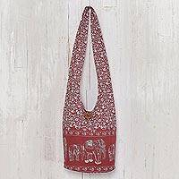 Cotton shoulder bag, 'Red Siam' - Cotton shoulder bag