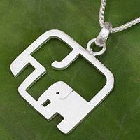 Sterling silver pendant necklace, 'Elephantine Motherhood'