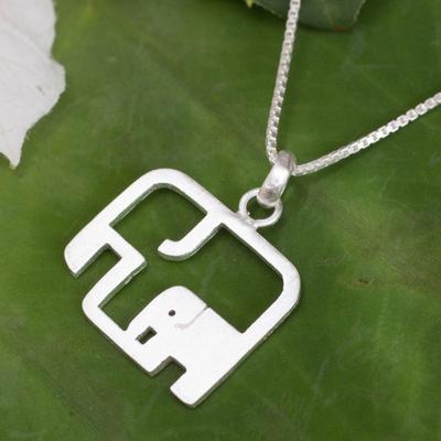 Sterling silver pendant necklace, 'Elephantine Motherhood' - Artisan jewellery Elephant Necklace in Sterling Silver