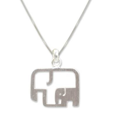 Sterling silver pendant necklace, 'Elephantine Motherhood' - Artisan Jewelry Elephant Necklace in Sterling Silver