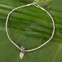 Silver anklet, 'Hill Tribe Blossoms' - Hill Tribe Silver 950 Beaded Anklet