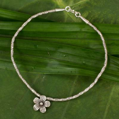 Silver anklet, 'Hill Tribe Blossom' - Silver 950 Beaded Anklet with Flower Charm