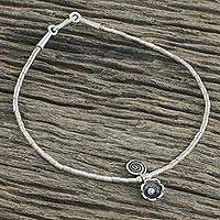 Silver anklet, 'Hill Tribe Mystique' - Beaded Silver 950 Thai Hill Tribe Anklet