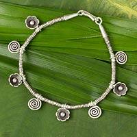 Silver charm bracelet, 'Hill Tribe Magic' - Silver charm bracelet