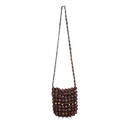 Coconut shell shoulder bag, 'Eco Lover' - Handmade Coconut Shell Handbag Thailand