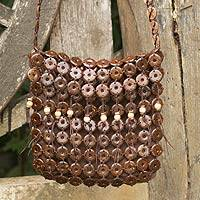 Coconut shell shoulder bag, 'Eco Nature'