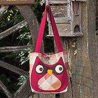 Cotton shoulder bag, 'Happy Owl' - Cotton shoulder bag