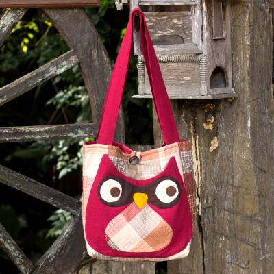 Cotton shoulder bag, Happy Owl