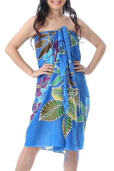 Blue Floral Cotton Batik Sarong