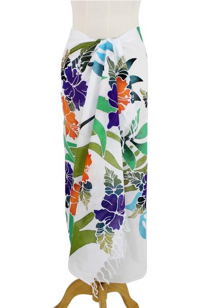 Cotton batik sarong, 'Tropical Hibiscus' - Handcrafted Floral Cotton Batik Sarong