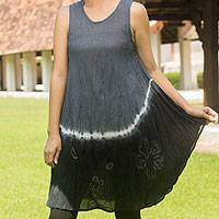 Cotton batik dress, 'Gray Thai Holiday' - Cotton batik dress