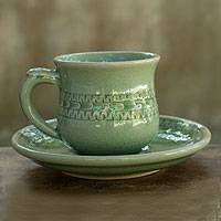 Celadon ceramic cup and saucer, 'Rice Field' - Celadon Ceramic Cup and Saucer