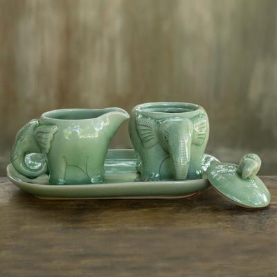 Handmade Green Celadon Ceramic Sugar Bowl and Creamer Set ...