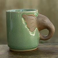 Celadon ceramic mug, 'Elephant Impression'