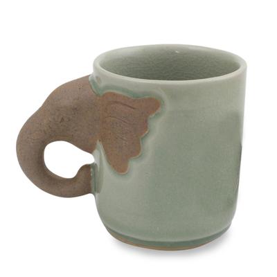 Celadon ceramic mug, 'Elephant Impression' - Celadon Ceramic Elephant Mug
