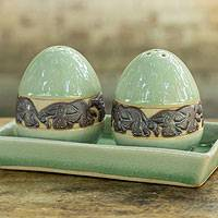 Celadon ceramic salt and pepper shaker set, 'Forest Elephant' - Thai Celadon Ceramic Salt and Pepper Shaker Set