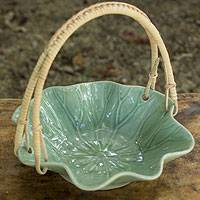 Celadon basket, 'Lotus Leaf' - Celadon Ceramic Basket