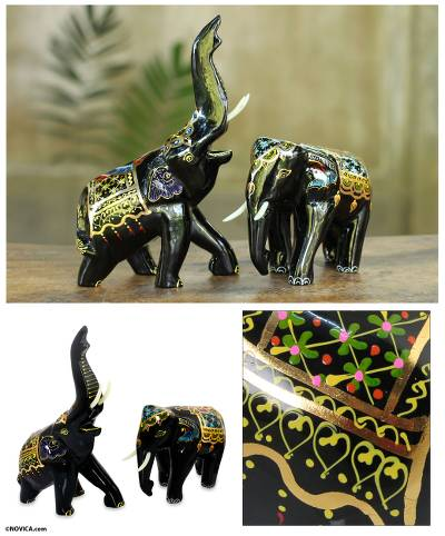 Lacquered wood figurines, 'Beloved Thai Elephants' (pair) - Handcrafted Lacquered Wood Elephants (pair)