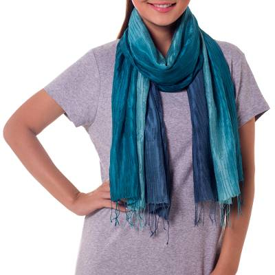 Pin tuck scarf, 'Aqua Turquoise Transition' - Hand Dyed Pin Tuck Silk Scarf