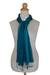 Pin tuck scarf, 'Aqua Turquoise Transition' - Hand Dyed Pin Tuck Silk Scarf (image 2b) thumbail