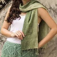 Silk pin tuck scarf, 'Olive Sage Transition' - Thai Silk Pin Tuck Scarf Shading from Sage to Olive