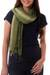 Silk pin tuck scarf, 'Olive Sage Transition' - Thai Silk Pin Tuck Scarf Shading from Sage to Olive thumbail