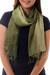 Silk pin tuck scarf, 'Olive Sage Transition' - Thai Silk Pin Tuck Scarf Shading from Sage to Olive (image 2b) thumbail
