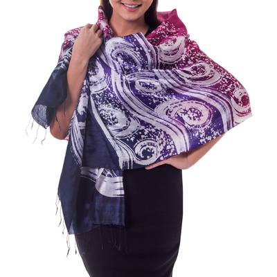 Silk batik shawl, 'Ocean Hyacinth' - Hand Painted Silk Batik Shawl