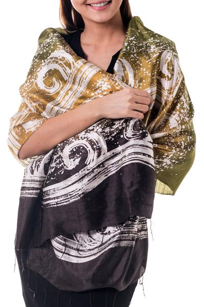 Silk batik shawl, 'Ocean Currents' - Thai Hand Crafted Silk Batik Shawl
