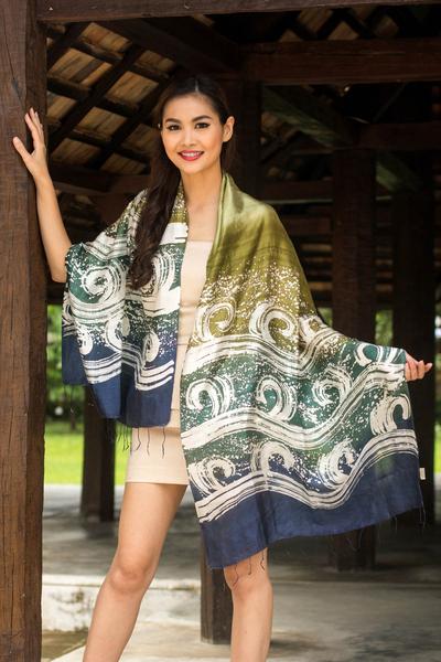 Silk batik shawl, 'Ocean Cliff'