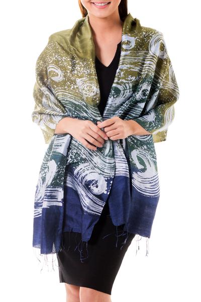 Silk batik shawl, 'Ocean Cliff' - Silk Batik Shawl in Green and Blue from Thailand