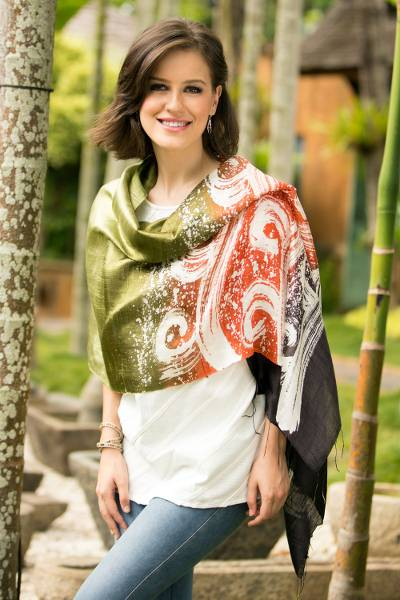 Silk batik shawl, 'Ocean Sunset' - Silk Batik Shawl in Orange and Green from Thailand