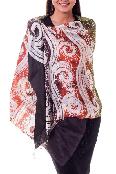 Silk batik shawl, 'Ocean Sunset' - Silk Batik Shawl in Orange and Green from Thailand
