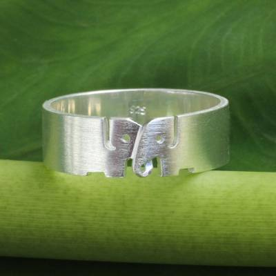 Sterling silver band ring, 'Love for Life' - Elephant jewellery Sterling Silver Band Ring