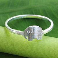 Sterling silver band ring, 'Twinkling Elephant' - Brushed Satin Sterling Silver Ring with Cubic Zirconia