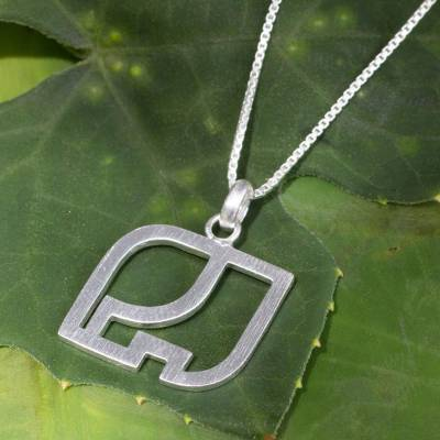 Sterling silver pendant necklace, 'Elephant Silhouette' - Thai Artisan Sterling Silver Necklace Jewelry