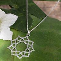 Sterling silver pendant necklace, 'Thai Sun' - Artisan jewellery Sterling Silver Necklace