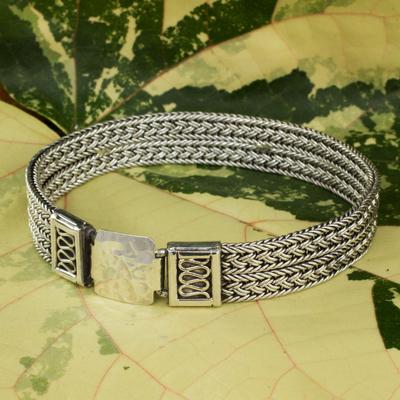 Men's sterling silver bracelet, 'Distinction' - Men's Wide Sterling Silver Braided Bracelet Thailand