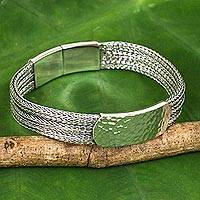 Men's sterling silver bracelet, 'Winter Wheat' - Men's Thai Sterling Silver Braided Bracelet and Medallion